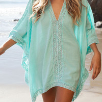 Aqua Asymmetric Crochet V-neck Bat Sleeve Poncho Cover Up