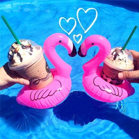10pcs/lot Mini Cute Flamingo Drink Can Holder PVC Inflatable Floating Swimming Pool Bathing Beach Party Kids Toy