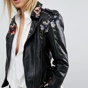 Blank NYC Leather Look Jacket with Floral Embroidery & Stud Detail at asos.com