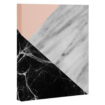 Emanuela Carratoni Marble Collage with Pink Art Canvas