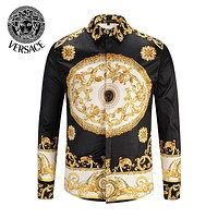 VERSACE Classic Fashion Men Women Casual Print Long Sleeve Lapel Shirt Top