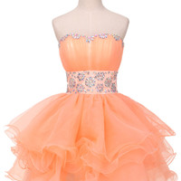 Orange Crystal Embellished Ruffles Strapless Cocktail Dress