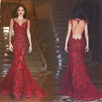 Real Handwork Dress Picture Mermaid Prom Dress Burgundy O Neck Sleeveless Sexy See Through Back Trumpet robe de soiree longue