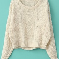 Cropped Cream Cable Knit Sweater from Seek Vintage