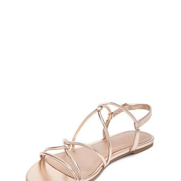 Metallic Faux Leather Strappy Sandals