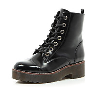 River Island Womens Black chunky lace up ankle boots
