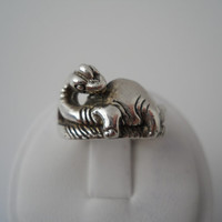 Sterling Silver 925 Dinosaur Ring Embossed Etched Detailed 925