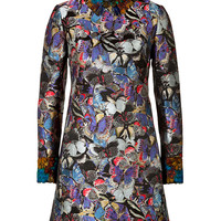 Valentino - Brocade Butterfly Dress with Feather Trim