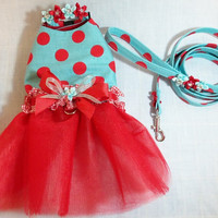 Retro Red and Turquoise Polkadot Tutu Dress with Matching Collar and Leash Set