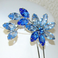 Blue Rhinestone Hair Comb Flower Wedding Bridal Formal Vintage Jewelry Accessory Royal Powder