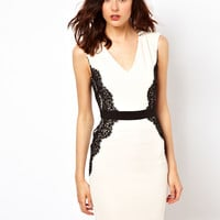 Warehouse Lace Overlay Pencil Dress