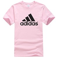 Adidas New fashion bust letter print couple top t-shirt Pink