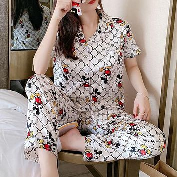 GG women's new short-sleeved trousers sexy home service suit two-piece suit