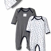 Burt's Bees Baby Unisex Baby 2-Pack Romper and Hat Sets, One Piece Jumpsuits, 100% Organic Cotton