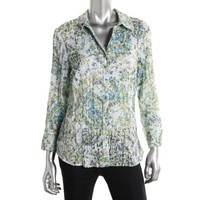 JM Collection Womens Paisley Collared Button-Down Top