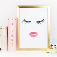 MAKEUP DIGITAL ART,Wake Up And Makeup,Lips,Lashes,Pink Lips,Makeup Print,Bathroom Wall Art,Lashes Art,Bathroom Wall Decor,Gift For Her,Art