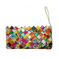 Recycled Foil Wrapper Clutch Bag with Wrist Strap - MYO