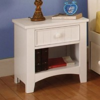 Solid Wood Youth White Finish Nightstand