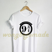 Platform 9 3/4 Shirt Harry Potter Clothing T Shirt Black Grey and White Color Tshirt