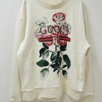 Gucci Fashion Women Loose Classic Vintage Flower Letter Print Round Collar Top Sweater