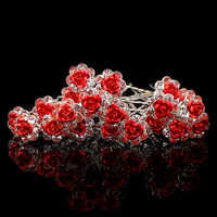 20Pcs/ Lot Women Wedding Bridal Clear Crystal Rhinestone Rose Flower Hair Pin Clips Hair Accessories  Jewelry Barrettes Headwear