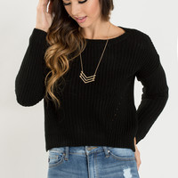 Debra Black Cropped Knit Sweater