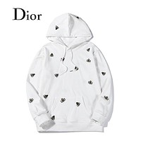 Dior autumn and winter loose casual cotton embroidered hooded sweater White