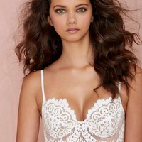 SKIVVIES She's a Knockout Lace Bra - White
