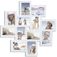 Adeco White Wood 12 Openings Wall Collage Picture Frame, 4 x 6-Inch