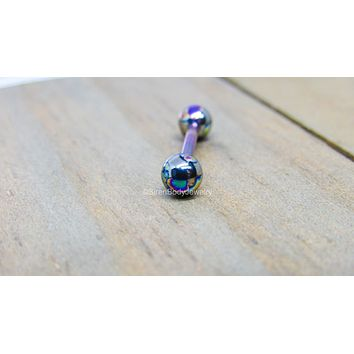 """Titanium tongue ring piercing barbell 14g 1/2"""" 5/8"""" 3/4"""" internally threaded 5mm ball ends pick your color"""