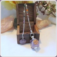 """Stone of Spiritual Growth"" Amethyst 7 Chakra  Pendulum & Pentagram Box"