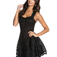 Black Sleeveless Cut-out Back Lace Dress