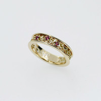 Pink ruby ring, filigree wedding ring, white gold, yellow gold, wedding ring, ruby wedding band, vintage, engagement ring, unique, rose gold