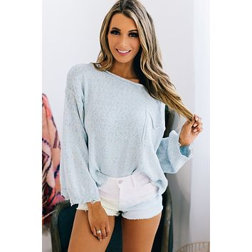 You Are The Reason Confetti Knit Sweater (Misty Blue)