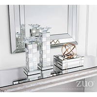 A10421 Squares Candle Holder Sm Mirror And Mop