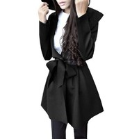 Long Sleeve Front Opening Pleated Women Trench Coat W Removeable Belt