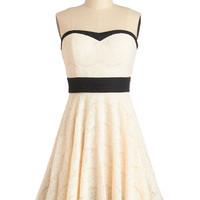 ModCloth Mid-length Strapless A-line Perfect in Petals Dress in Ivory