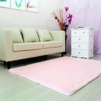 FADFAY Super Soft Modern Shag Area Rugs Pink Living Room Carpet Bedroom Rug Washable Rugs Solid Home Decorator Floor Rug and Carpets 4- Feet By 5- Feet (Pink)