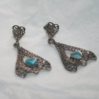 Sterling And Turquoise Dangle Earrings