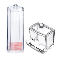 Acrylic Cotton Swab Organizer Box Portable Round Container Storage Case Make up Cotton & Pad Box For Home Hotel Office