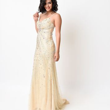 Champagne Iridescent Crystal & Lace Tulle Sweetheart Gown