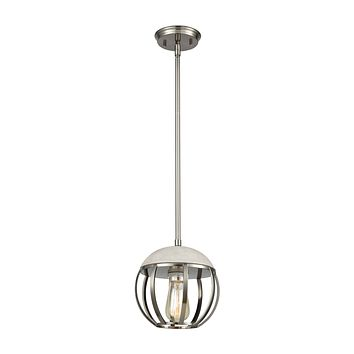 Urban Form 1-Light Mini Pendant in Brushed Black Nickel with Concrete and Metal Cage