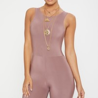 Dark Mauve Second Skin Slinky Racer Neck Unitard
