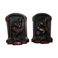 Pre-owned The Thinker Antique Bronze Brass Bookends