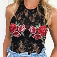 ICIKB3R Flower Embroidery Hollow Out Halter Romper Jumpsuit Underwear Lingerie