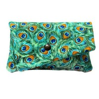 Elegant peacock feather clutch purse wallet by Patchtique