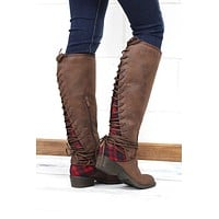 Very Volatile: Marcel Lace Up Back Buffalo Plaid Insert Boots {Brown} - Size 6