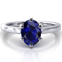 Darci Oval Blue Sapphire 6 Prong Cathedral Solitaire Engagement Ring