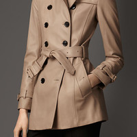 Short Lambskin Trench Coat