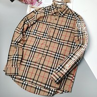 Burberry New fashion stripe plaid long sleeve couple top shirt